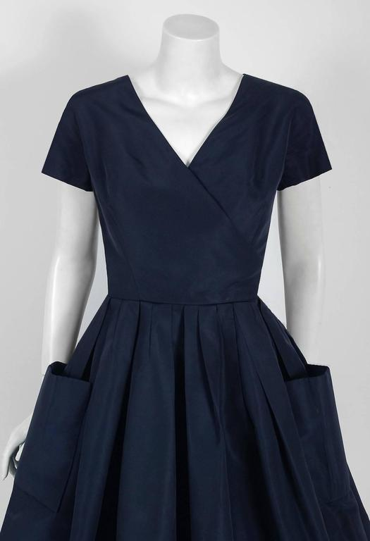 1954 Christian Dior Original Navy Blue Silk Pockets Low-Plunge Full Skirt Dress 3