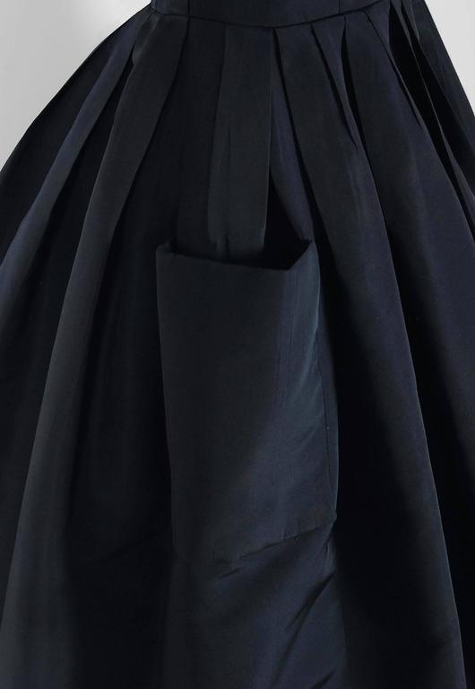 1954 Christian Dior Original Navy Blue Silk Pockets Low-Plunge Full Skirt Dress 5