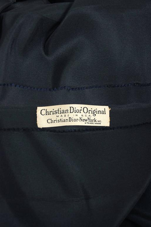 1954 Christian Dior Original Navy Blue Silk Pockets Low-Plunge Full Skirt Dress 7
