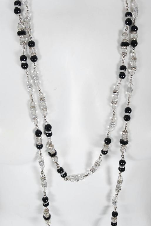 Art Deco Vintage 1954 Chanel by Robert Goossens Crystal Long Sautoir Couture Necklace For Sale
