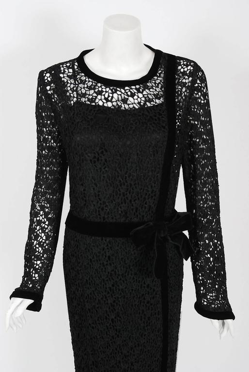 Chanel is known to be one of the most luxurious and decadent fashion houses in the world. This breathtaking black guipure crochet-lace and velvet cocktail dress ensemble from her 1973 Fall/Winter collection is a perfect example of why this couture