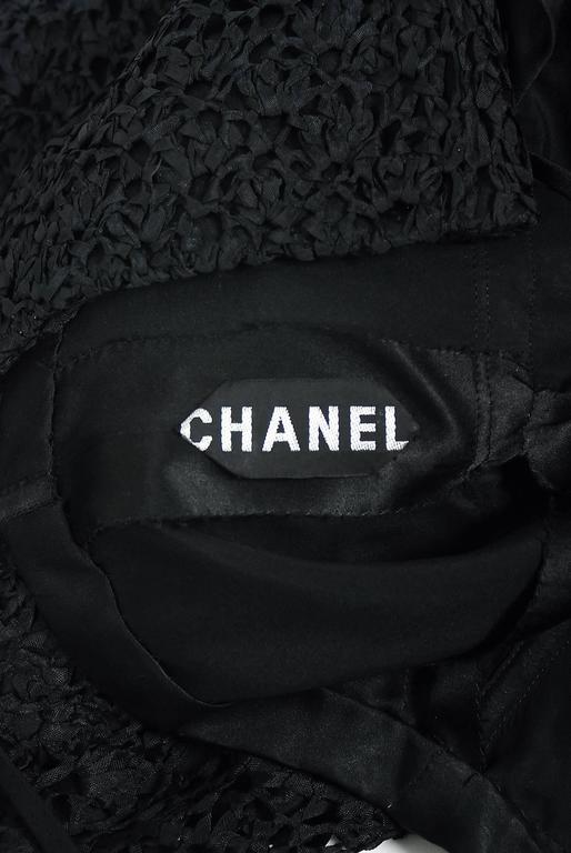 Vintage 1973 Chanel Haute Couture Black Guipure Lace & Velvet Long-Sleeve Dress For Sale 3
