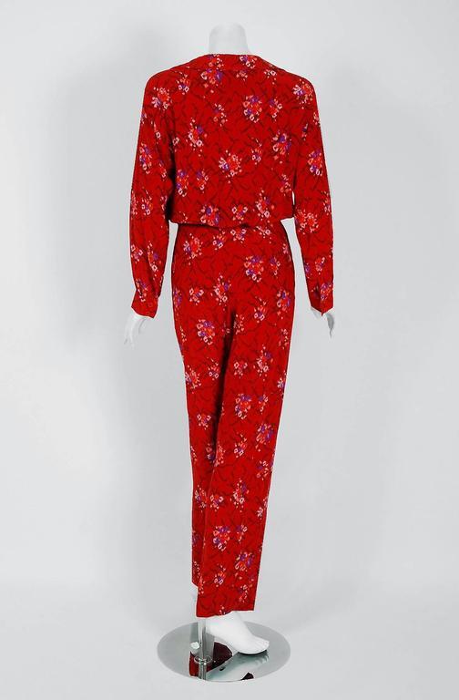 1977 Lanvin Haute-Couture Graphic Red Floral Silk Pleated Blouson Jumpsuit 5