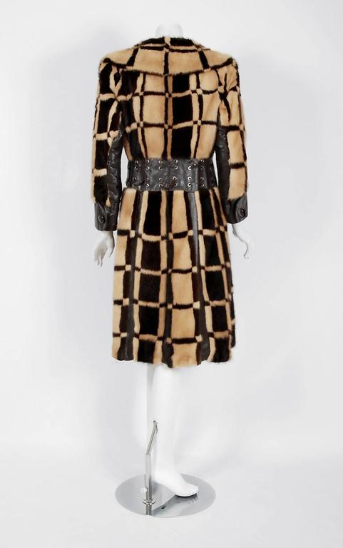 Pierre Cardin Graphic Block Color Mink Fur / Leather Grommet Princess Coat, 1972 For Sale 2
