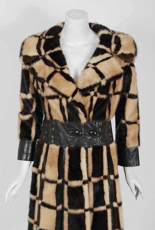 Exquisite Pierre Cardin designer genuine mink-fur and leather coat dating back to his 1972 Fall/Winter collection. The luxurious blonde and chocolate brown mink has been worked into an almost deco-square checkered pattern and the effect is really
