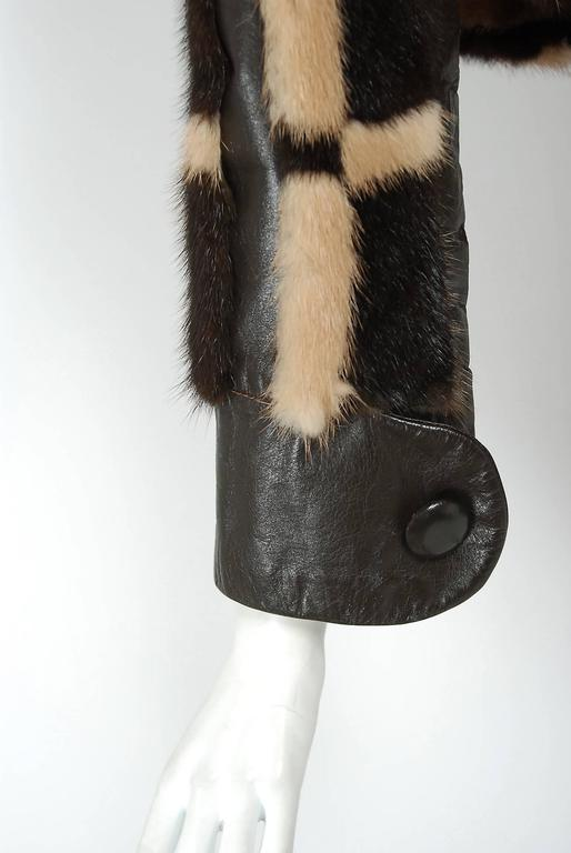Pierre Cardin Graphic Block Color Mink Fur / Leather Grommet Princess Coat, 1972 In Excellent Condition For Sale In Beverly Hills, CA