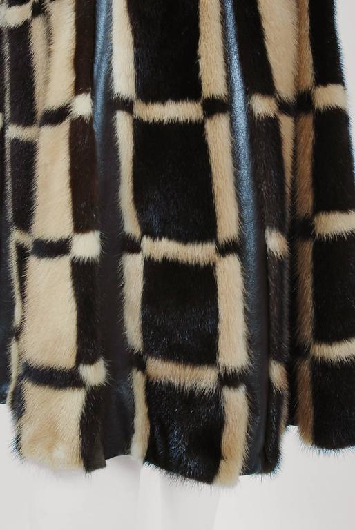 1972 Pierre Cardin Graphic Block-Color Mink Fur & Leather Grommet Princess Coat 6