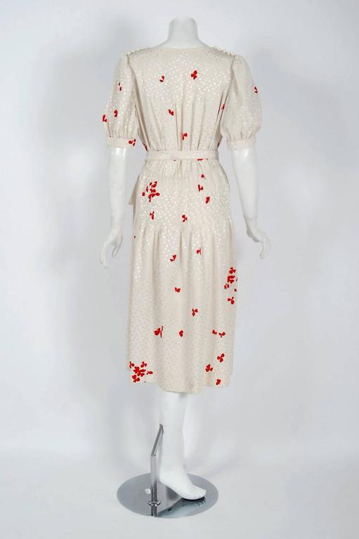 1978 Yves Saint Laurent Haute-Couture Ivory Red Print Silk Peasant Dress & Shawl 7