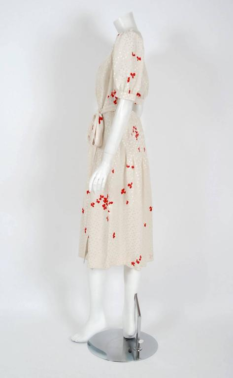 1978 Yves Saint Laurent Haute-Couture Ivory Red Print Silk Peasant Dress & Shawl In Excellent Condition For Sale In Beverly Hills, CA