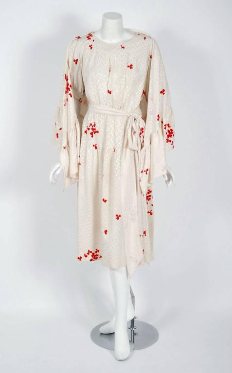Women's 1978 Yves Saint Laurent Haute-Couture Ivory Red Print Silk Peasant Dress & Shawl For Sale