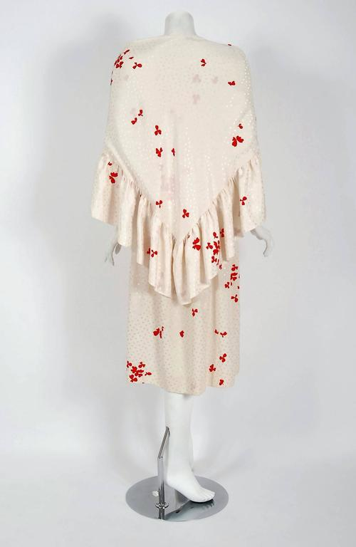 1978 Yves Saint Laurent Haute-Couture Ivory Red Print Silk Peasant Dress & Shawl For Sale 1