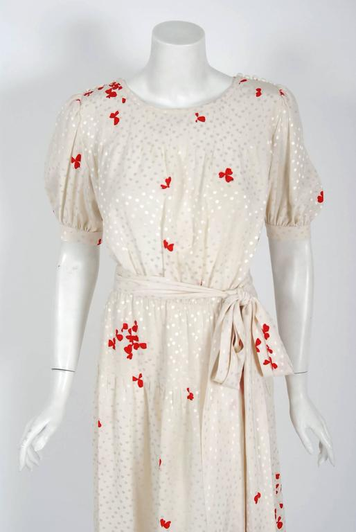 1978 Yves Saint Laurent Haute-Couture Ivory Red Print Silk Peasant Dress & Shawl 2