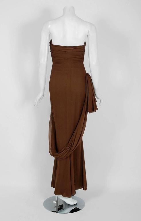 1987 Yves Saint Laurent Haute-Couture Mocha Brown Silk Strapless Sculpted Gown For Sale 1