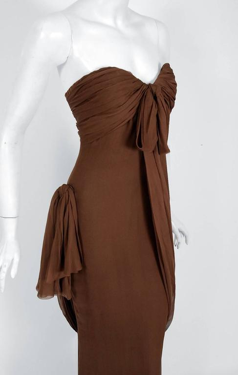 1987 Yves Saint Laurent Haute-Couture Mocha Brown Silk Strapless Sculpted Gown In Excellent Condition For Sale In Beverly Hills, CA