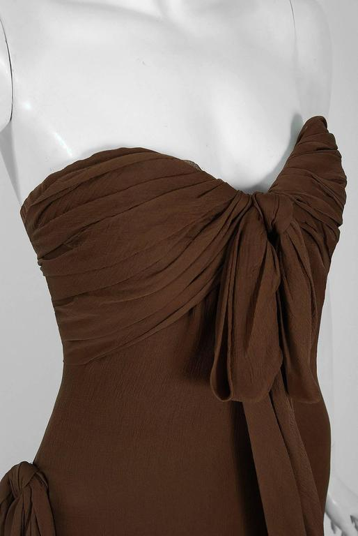 1987 Yves Saint Laurent Haute-Couture Mocha Brown Silk Strapless Sculpted Gown 4