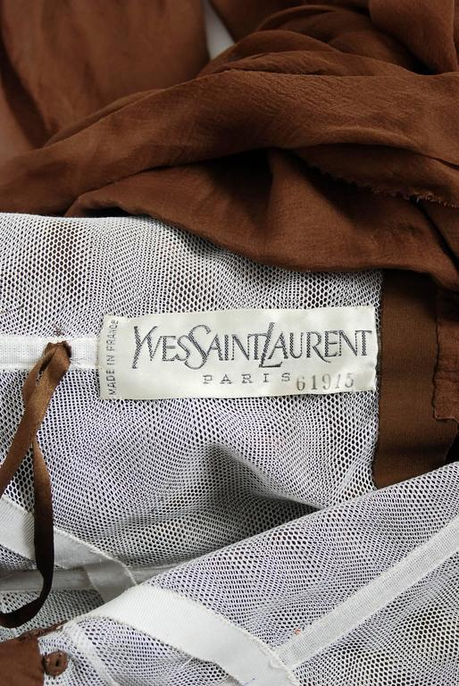 1987 Yves Saint Laurent Haute-Couture Mocha Brown Silk Strapless Sculpted Gown For Sale 2