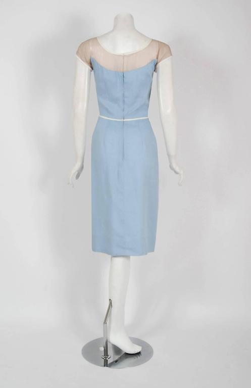 1950's Peggy Hunt Baby-Blue Linen Applique Illusion Hourglass Cocktail Dress For Sale 1