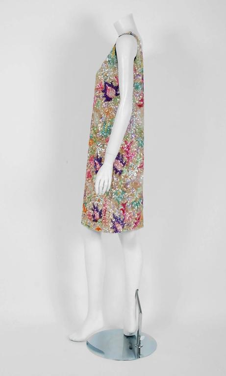 Women's Vintage 1968 Marbel Madrid Couture Beaded Sequin Floral Silk Sleeveless Dress For Sale
