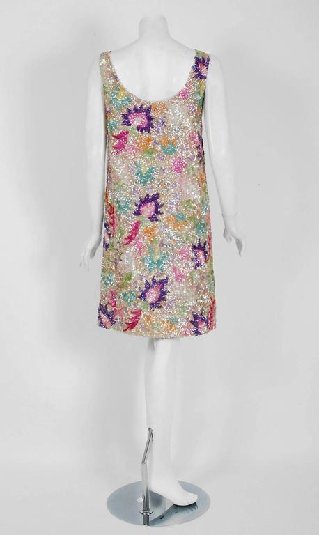 Vintage 1968 Marbel Madrid Couture Beaded Sequin Floral Silk Sleeveless Dress For Sale 1