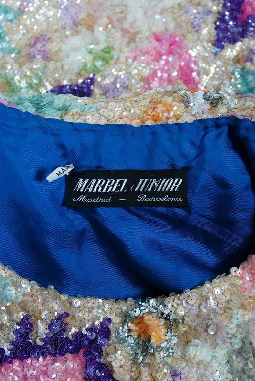 Vintage 1968 Marbel Madrid Couture Beaded Sequin Floral Silk Sleeveless Dress For Sale 2