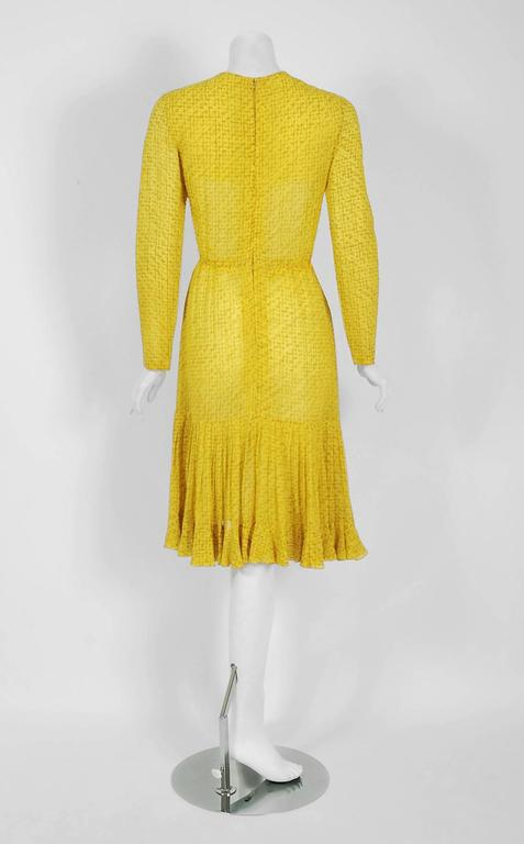 1975 Christian Dior Haute-Couture Yellow Print Chiffon Fishtail Flounce Dress  For Sale 1