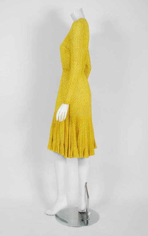 1975 Christian Dior Haute-Couture Yellow Print Chiffon Fishtail Flounce Dress  3