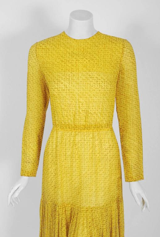 1975 Christian Dior Haute-Couture Yellow Print Chiffon Fishtail Flounce Dress  2