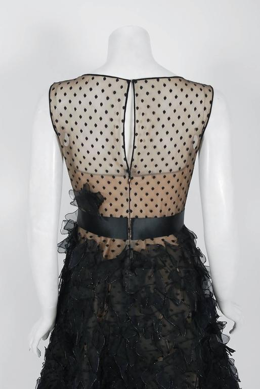 2011 Oscar de la Renta Black & Nude Sheer-Illusion Silk Applique Party Dress   For Sale 1