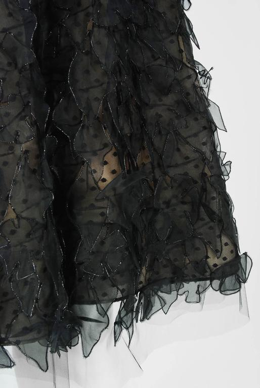 2011 Oscar de la Renta Black & Nude Sheer-Illusion Silk Applique Party Dress   In Excellent Condition For Sale In Beverly Hills, CA