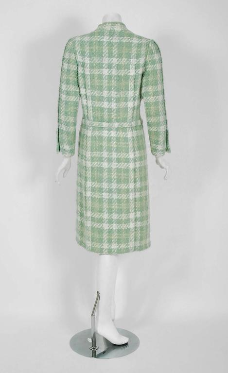 Women's 1970 Chanel Haute-Couture Seafoam Green Boucle Plaid Wool Mod Military Coat  For Sale
