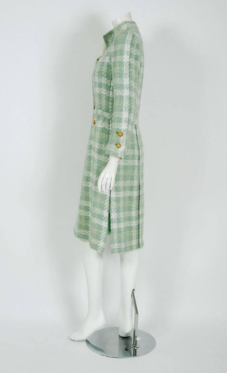 1970 Chanel Haute-Couture Seafoam Green Boucle Plaid Wool Mod Military Coat  In Excellent Condition For Sale In Beverly Hills, CA