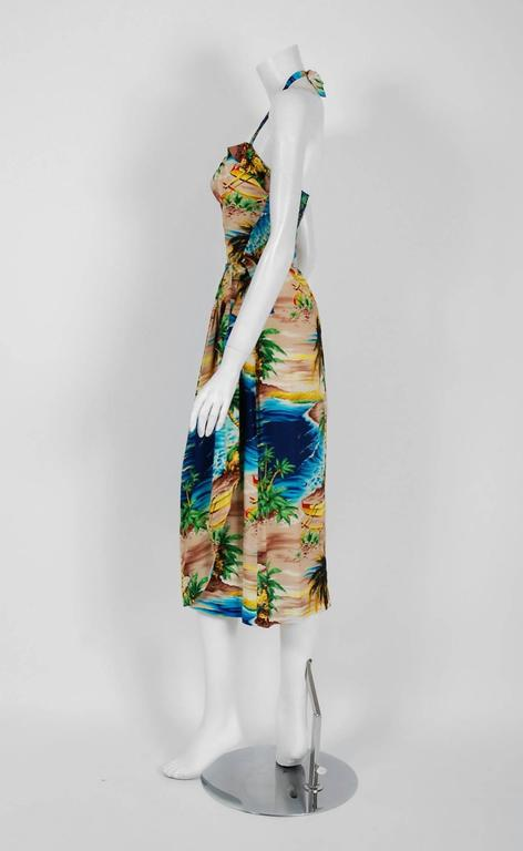 1940's Tropical Hawaiian Novelty Print Silk-Rayon Halter Sarong Dress & Bolero 6