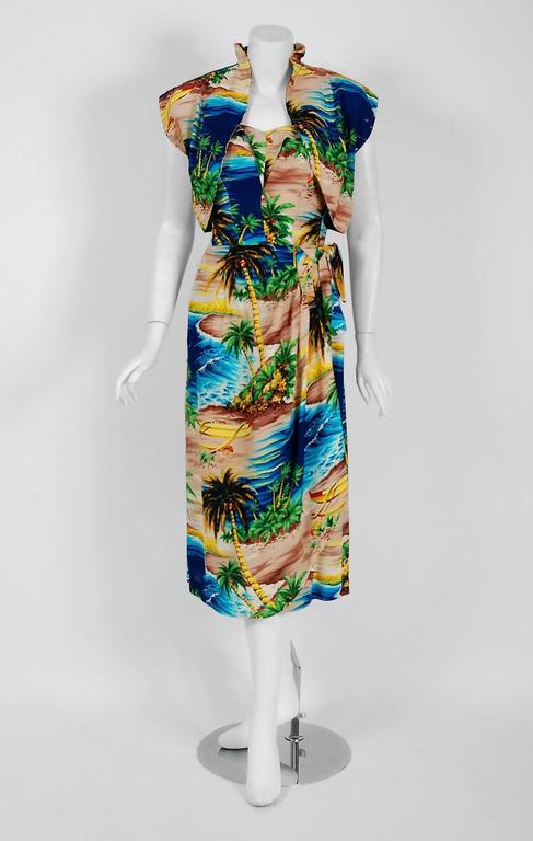 1940's Tropical Hawaiian Novelty Print Silk-Rayon Halter Sarong Dress & Bolero 3