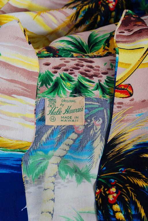 1940's Tropical Hawaiian Novelty Print Silk-Rayon Halter Sarong Dress & Bolero 8