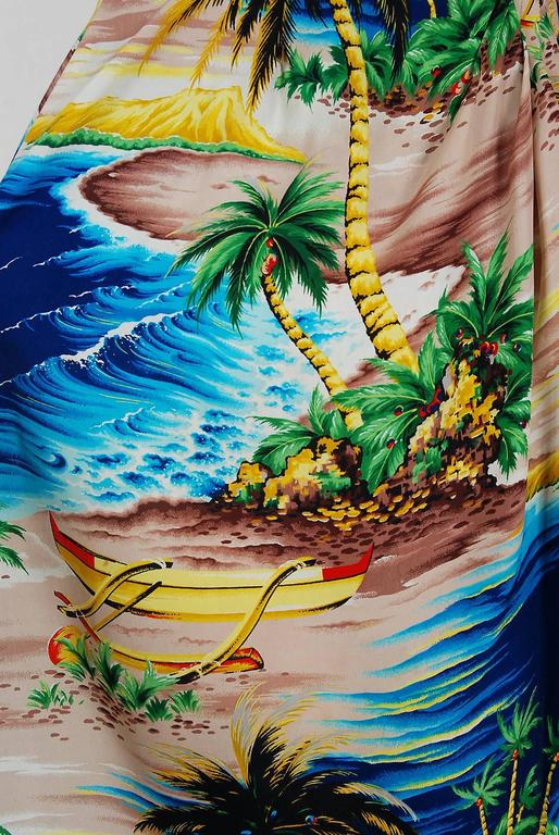 1940's Tropical Hawaiian Novelty Print Silk-Rayon Halter Sarong Dress & Bolero 5