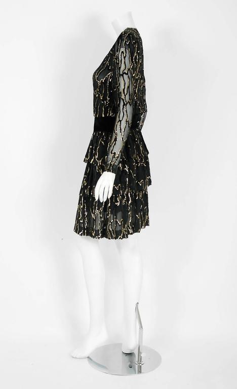 Women's Vintage 1979 Givenchy Haute-Couture Metallic Gold & Black Burnout Velvet Dress  For Sale