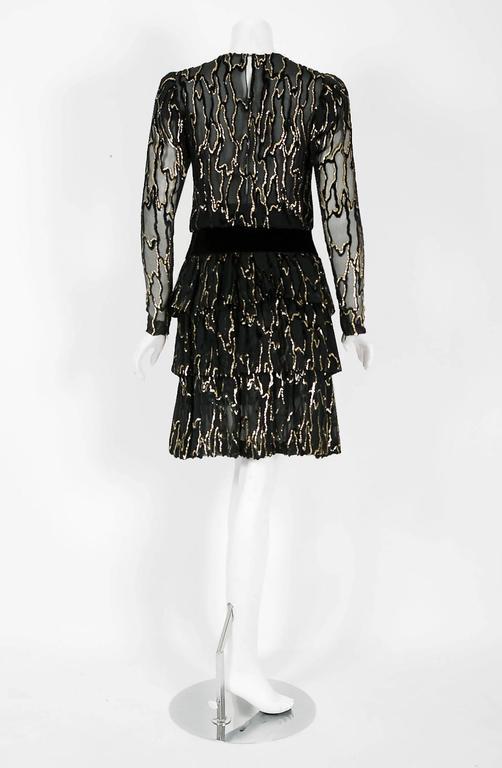 Vintage 1979 Givenchy Haute-Couture Metallic Gold & Black Burnout Velvet Dress  For Sale 2
