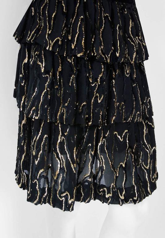 Vintage 1979 Givenchy Haute-Couture Metallic Gold & Black Burnout Velvet Dress  For Sale 1