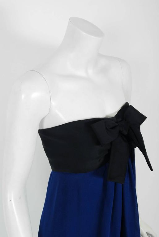 Vintage 1990 Chanel Runway Sapphire-Blue & Black Silk Strapless Dress w/ Shawl In Good Condition In Beverly Hills, CA