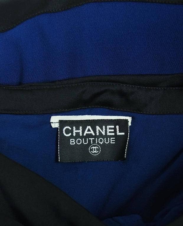 1992 Chanel Runway Sapphire-Blue & Black Silk Strapless Bow Dress with Shawl For Sale 1