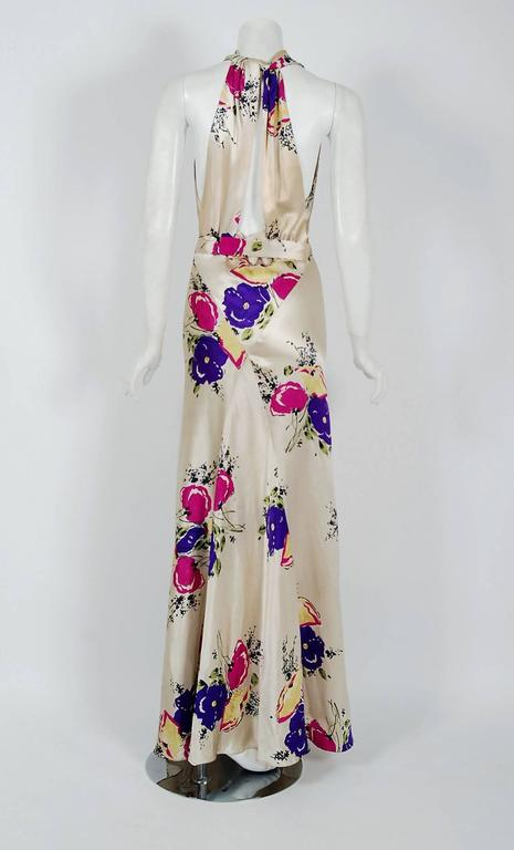 Women's 1930's Seductive Floral Garden Silk Satin Cowl-Neck Hourglass Bias-Cut Gown For Sale