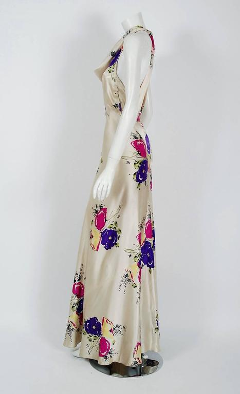 1930's Seductive Floral Garden Silk Satin Cowl-Neck Hourglass Bias-Cut Gown In Excellent Condition For Sale In Beverly Hills, CA