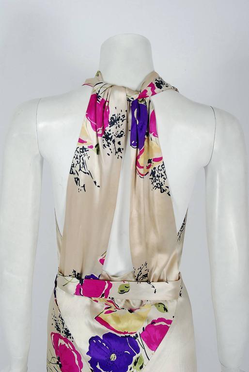 1930's Seductive Floral Garden Silk Satin Cowl-Neck Hourglass Bias-Cut Gown For Sale 1