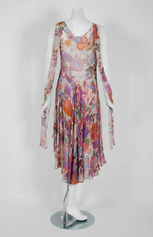 1920's French Couture Beaded Floral Silk-Chiffon Tiered Waterfall Flapper Dress 6