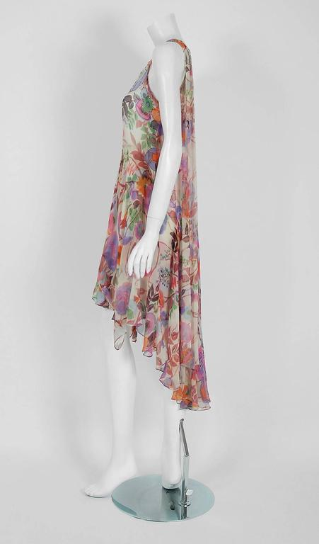 1920's French Couture Beaded Floral Silk-Chiffon Tiered Waterfall Flapper Dress 2