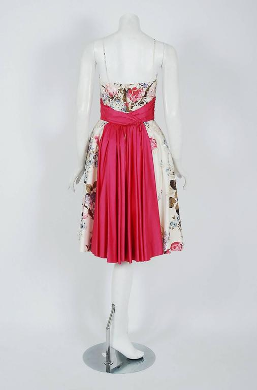 1950's Emma Domb Rose-Garden Floral Print Sequin Cotton Full-Skirt Party Dress 5