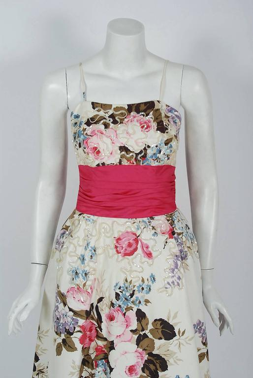 1950's Emma Domb Rose-Garden Floral Print Sequin Cotton Full-Skirt Party Dress 2