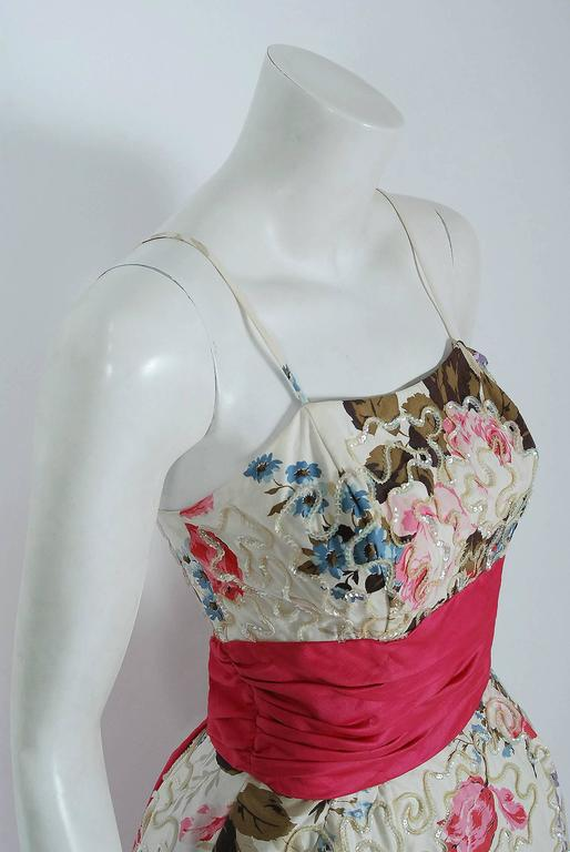 1950's Emma Domb Rose-Garden Floral Print Sequin Cotton Full-Skirt Party Dress 3