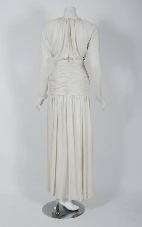 Gray 1992 Oscar de la Renta Ivory-White Ruched Silk Grecian Goddess Gown w/Tags For Sale