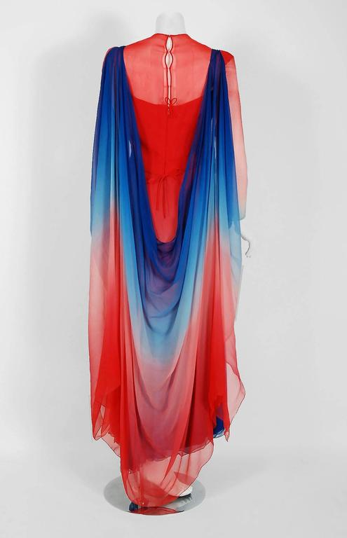 1977 Arnold Scaasi Couture Ombre Silk Chiffon Long-Sleeve Illusion Gown Ensemble 6